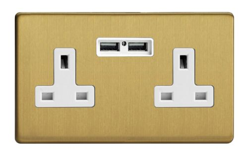 Varilight XDB5U2WS Screwless Brushed Brass 2 Gang Double 13A Unswitched Plug Socket 2.1A USB